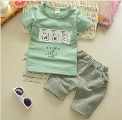 The suit is 1-3 years old girl, cotton dress 4 baby, summer short sleeve two piece. green-feeding bottle 80cm