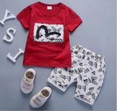 Short suit children Summer Boys sport summer baby girls T-shirt cotton two piece clothes wine red-M 100cm
