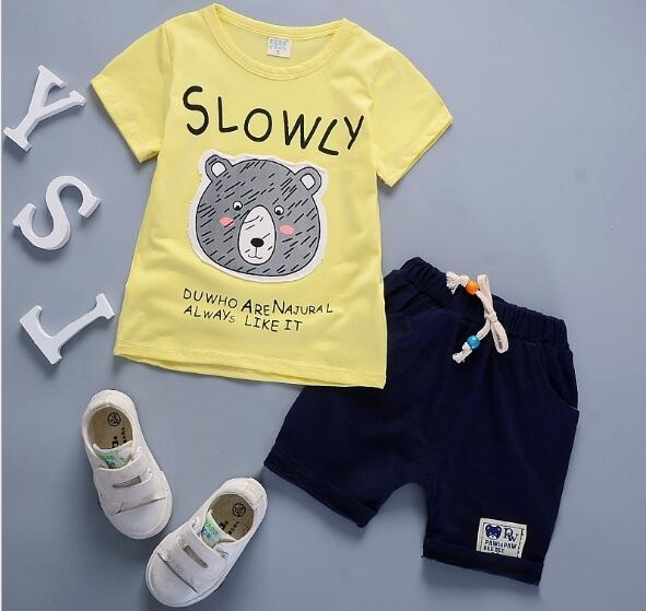 e83ef6755 Short suit children Summer Boys sport summer baby girls T-shirt cotton two  piece clothes light yellow-bear 90cm: Product No: 1319875. Item specifics:  Brand: