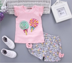 Baby clothes, baby girl, 0-4 years old, lollipop, bow tie suit. pink 90cm