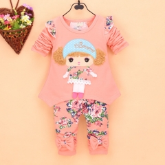 The new spring girl girl cute cartoon avatar long sleeved suit pink 80cm