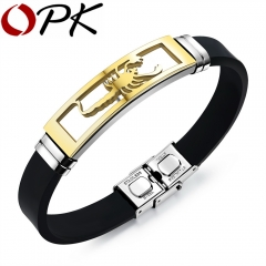Silicone Man Bracelets Fashion Stainless Steel Scorpion Design Length Adjustable Jewelry Bangles gold 20CM