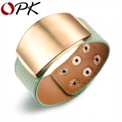 Width Wrap Bracelet For Woman OL Style Leather Bracelets & Bangles Fashion Adjustable Women Jewelry green 16cm~18cm adjustable