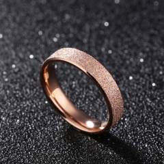 Frosted Stainless Steel Rings Circle Gold Color Dull Polish Shiny Engagement Wedding Band For Women gold 5