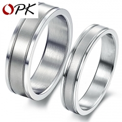 Romantic Dull Polished Wedding Rings For Lover Men Women Groove Stainless Steel Engagement Couple women 7