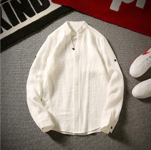 064e598c3940 Kilimall  Summer men s pure long sleeves simple linen cotton flax ...