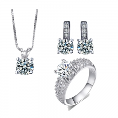 White gold Filled Wedding Jewelry Sets czdiamond jewelry elegant Engagement Earring + Ring+ Pendant silver 9