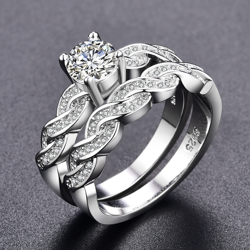 Ring Sets For Women Engagement Women Rings Bijoux Vintage Wedding Ring Sets Bague Accessories White 8