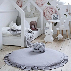 Ins exploded round lace pure cotton children's game mat cushions blanket. gray 105*2cm