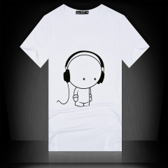 Summer men's short sleeved T-shirt, slim shirt, men's round neck T-shirt white XXL cotton