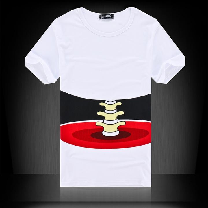 Summer men's short sleeved T-shirt, slim shirt, men's round neck T-shirt white m cotton