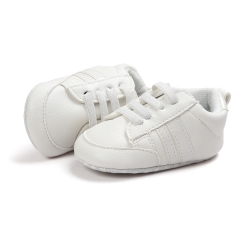 Small wave shoes soft bottom antiskid step shoes baby shoes polychromatic white 11cm