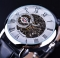 Design Hollow Engraving Black Gold Case Leather Skeleton Mechanical Watches Men Luxury Brand white one size