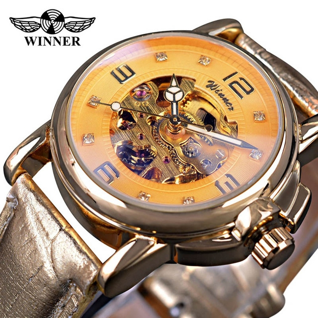 Ladies Top Brand Luxury White Simple Skeleton Transparent Case Automatic Mechanical Watches gold