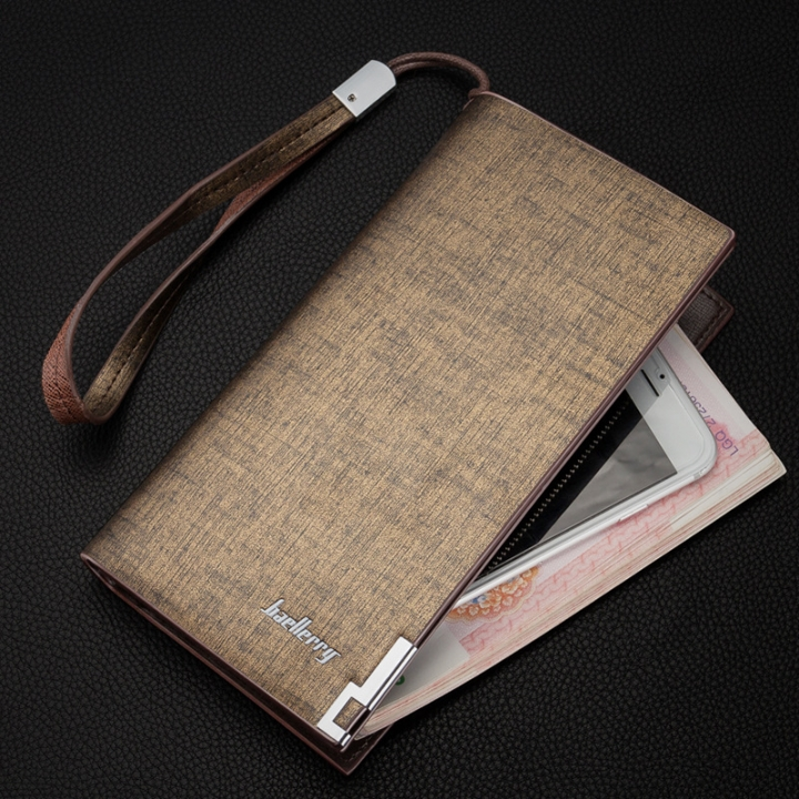 Men's long wallet, multifunctional zipper, handbag, European handsome handbag. gold Long