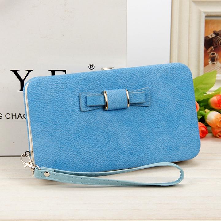 Ladies' wallet, long mobile phone bag, bow tie lunch box, female bag tide. blue long