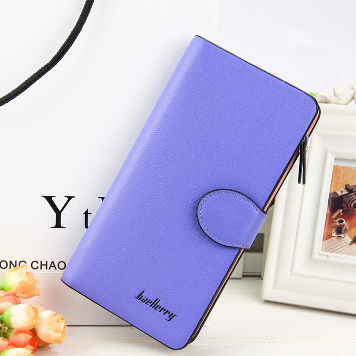 Women Solid Color Purse Woman Wallet Long Coin purses Female Purse Card Holder Clutch Feminina violet long