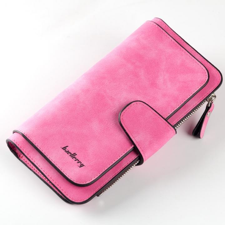 Women Long Clutch Wallet High Quality Hasp Design Ladies Long Purse Matte Leather Wallet rose red long