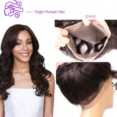 360 all lace accessories Europe and America sell real hair body wave 1b natural color 25.4cm