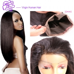 Hot sale Peru goods 360 human hair block full lace frontal all lace accessories wig 1b natural color 20.32cm