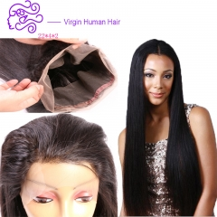 Europe and America sell hot money 360 full lace frontal real wig full lace front hair accessories 1b natural color 20.32cm