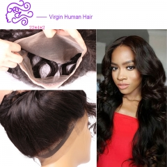 Europe and America sell hot money 360 full lace hair 22*4*2 body wave real wig 1b natural color 20.32cm