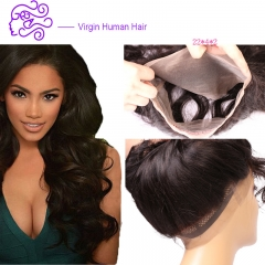 European and American hot selling natural color real hair 360 22*4*2 full lace accessories wig 1b natural color 20.32cm