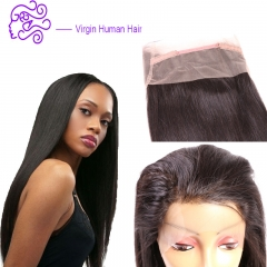 360 full lace hair 22*4*2 accessories straight real hair wig 1b natural color 20.32cm