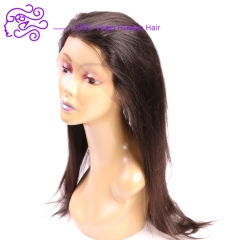 Europe and America sell 360 yuan 22*4*2 straight real hair wig 1b natural color 20.32cm
