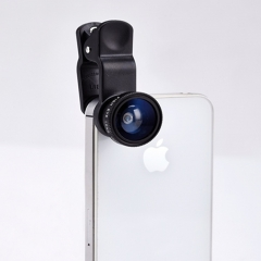 Universal 3 in 1 Fish eye camera Lens for mobile phone with clip fisheye wide angle macro lenses black one size