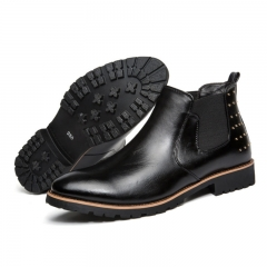 boots Genuine Soft Leather Boots Pointed Toe Breathable Bullock Patterns Oxford Dress Shoes For Men black 40