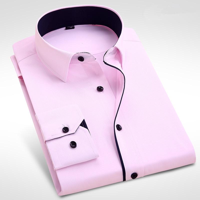4dc15b74c9bf Men s Wedding Shirt Long Sleeve Men Dress Business Solid Color ...