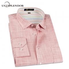Linen Casual Shirt Men Long Sleeve Classic Men's Dress Shirts Slim Fit Solid Color Man Fashion Shirt pink s