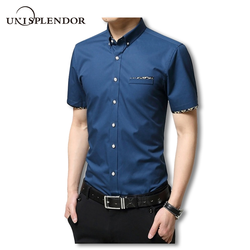 fa18d16cf85 Summer Men Shirts Male Short Sleeved Color Cotton Slim Fit Men s Business  Casual Shirt blue l  Product No  1473545. Item specifics  Seller ...