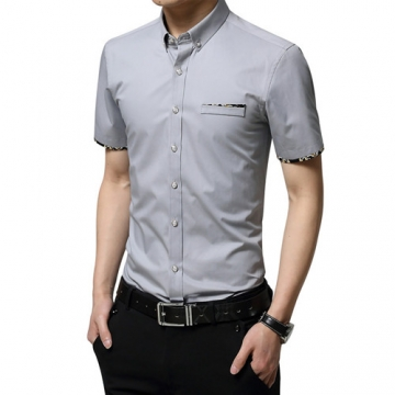 70a74fc5440 Summer Men Shirts Male Short Sleeved Color Cotton Slim Fit Men s Business  Casual Shirt gray 5xl