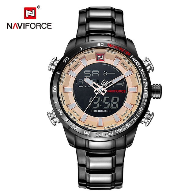 NAVIFORCE  Mens Sport Watch Gold Quartz Led Clock Men Waterproof Wrist Watch black brown one size