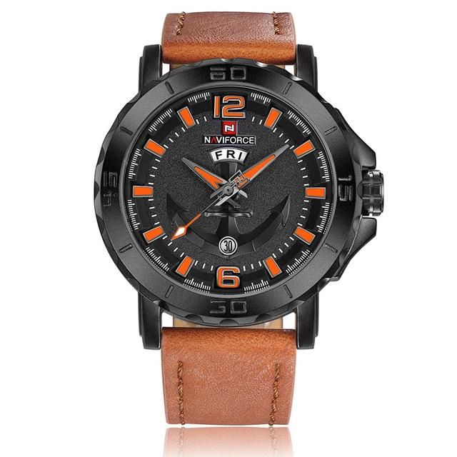 Naviforce Leather Strap Sports Watches Men Quartz Clock Sports Military Wrist Watch brown orange one size