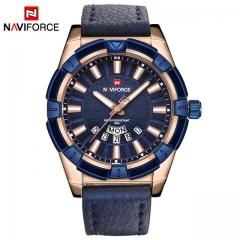 NAVIFORCE Luxury Brand Men's Quartz Watches Men Fashion Casual Leather Sports Watch gold one size
