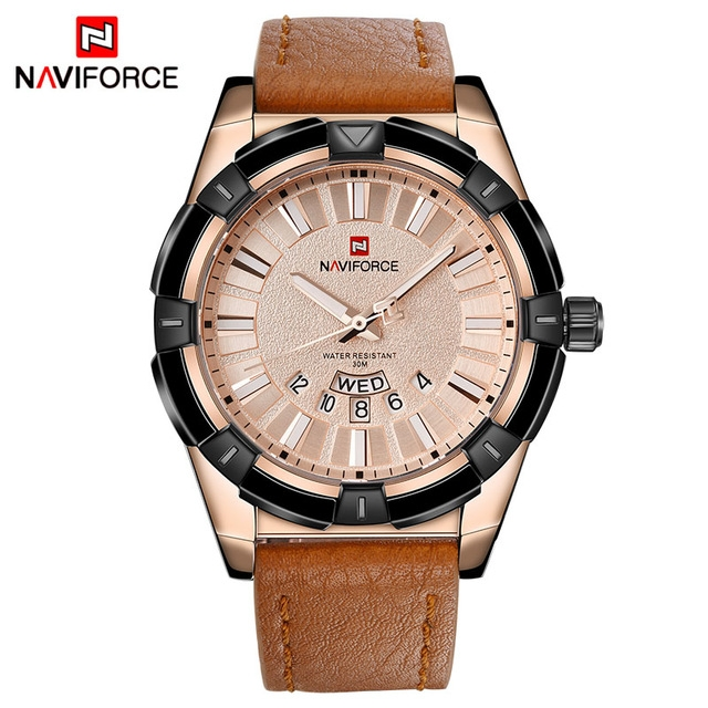 NAVIFORCE Luxury Brand Men's Quartz Watches Men Fashion Casual Leather Sports Watch rose gold one size