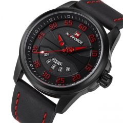 NAVIFORCE Men Fashion Casual Watches Men's Quartz Clock Man Leather Watch black red one size