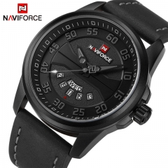 NAVIFORCE Men Fashion Casual Watches Men's Quartz Clock Man Leather Watch black gray one size