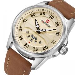 NAVIFORCE Men Fashion Casual Watches Men's Quartz Clock Man Leather Watch brown yellow one size