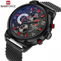 NAVIFORCE  Men's Analog Quartz 24 Hour Date Watches Man 3ATM Waterproof Clock Men Watch black red one size