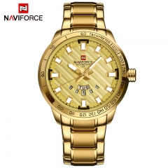 NAVIFORCE Men Stainless Steel Gold Watch Men's Quartz Clock Man Sports Waterproof Wrist Watches black yellow one size