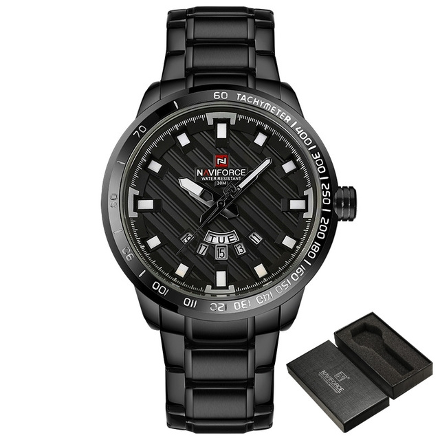 NAVIFORCE Men Stainless Steel Gold Watch Men's Quartz Clock Man Sports Waterproof Wrist Watches black white one size