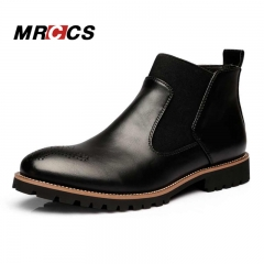 Chelsea Boots British Style Fashion Ankle Boots,Black/Brown/Red Brogues Soft Leather Casual Shoes black 40