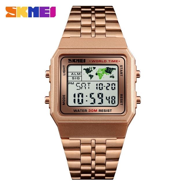 SKMEI Men Sports Fashion Watch Digital Watches Stopwatch Countdown Waterproof Wristwatch rose gold one size