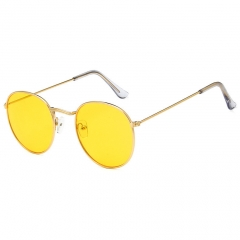 Retro circular frame, colorful film, sunglasses, fashion trends, sunglasses, ocean glasses yellow one size