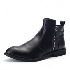 New cowhide boots Genuine Soft Leather Boots Pointed Toe Breathable Bullock Patterns Men Boots black 40