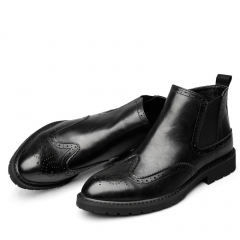 Full Grain Leather Boots Chelsea Ankle  Durable Short Handmade Booties Men black 40